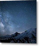 Milky Way Over Mount Rainier Metal Print