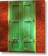 Mill Door In Dappled Sunlight Metal Print