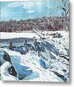 Mill Pond In Winter Metal Print