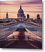 Millennium Bridge Leading Towards St Metal Print