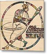 Milwaukee Brewers Vintage Art Metal Print
