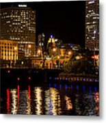Milwaukee River And Downtown Skyline Metal Print
