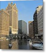 Milwaukee River Theater District 2 Metal Print