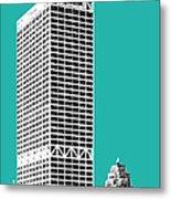 Milwaukee Skyline 1 - Teal Metal Print
