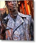 Mime In Silver On Bourbon St. Metal Print