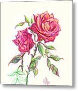 Minature Red Rose Metal Print