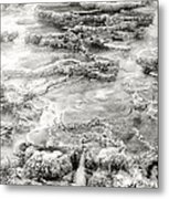 Minerva Springs In Black And White Yellowstone National Park Wyoming Metal Print