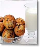 Mini Chocolate Chip Muffins And Milk - Bakery - Snack - Dairy - 1 Metal Print