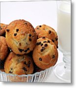 Mini Chocolate Chip Muffins And Milk - Bakery - Snack - Dairy - 2 Metal Print