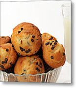 Mini Chocolate Chip Muffins And Milk - Bakery - Snack - Dairy - 3 Metal Print