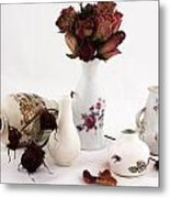 Mini Vase With Dried Roses Metal Print
