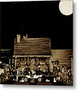 Miniature Log Cabin Scene With Old Time Classic 1908 Model T Ford In Sepia Color Metal Print by Leslie Crotty
