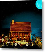Miniature Log Cabin Scene With Old Time Vintage Classic 1930 Packard Labaron In Color Metal Print by Leslie Crotty