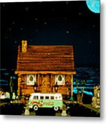 Miniature Log Cabin Scene With Old Time Vintage Classic 1962 Coca Cola Flower Power V.w. Micro Bus Metal Print