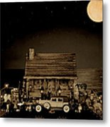 Miniature Log Cabin Scene With Old Vintage Classic 1930 Packard Labaron In Sepia Color Metal Print by Leslie Crotty