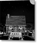 Miniature Log Cabin Scene With Old Vintage Classic 1962 Coca Cola Flower Power V.w. Bus In B/w Metal Print by Leslie Crotty