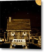 Miniature Log Cabin Scene With Old Vintage Classic 1962 Coca Cola Flower Power V.w. Bus In Sepia  Metal Print
