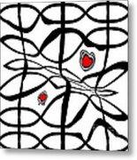 Minimalist Art Black White Red Abstract Art No.206. Metal Print