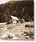 Mining House In Black And White Metal Print