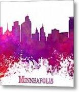 Minneapolis City Skyline Purple Metal Print