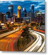 Minneapolis Light Trails Metal Print