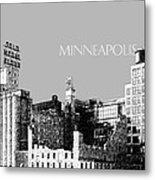 Minneapolis Skyline Mill City Museum - Silver Metal Print
