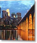 Minneapolis Skyline Photography Stone Arch Bridge Metal Print