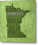 Minnesota Word Art State Map On Canvas Metal Print