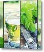 Mint Tea Collage Metal Print by Mythja  Photography