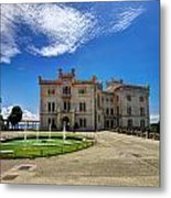 Miramare Castle With Fountain Metal Print