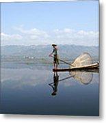 Mirror Inle Lake Metal Print