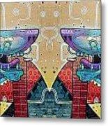 Mirrored Aztec Dog Metal Print