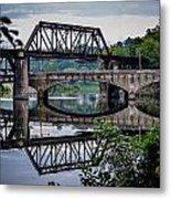 Mirrored Bridges Metal Print
