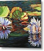 Mirrored Lilies Metal Print