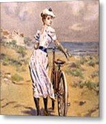 Miss Bicycle 1894 Metal Print