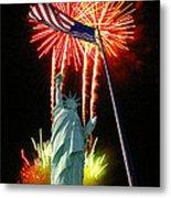 Miss Liberty And Fireworks Metal Print