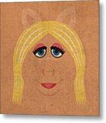 Miss Piggy Vintage Minimalistic Illustration On Worn Distressed Canvas Series No 011 Metal Print