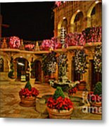 Mission Inn Christmas Chapel Courtyard Metal Print