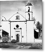 Mission San Luis Rey Bw Blue Metal Print by Kip DeVore