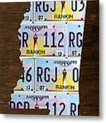 Mississippi State License Plate Map Art Metal Print