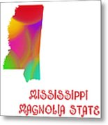 Mississippi State Map Collection 2 Metal Print