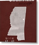 Mississippi State University Bulldogs Starkville College Town State Map Poster Series No 068 Metal Print