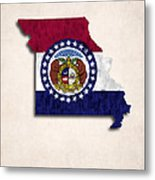 Missouri Map Art With Flag Design Metal Print