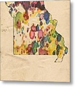 Missouri Map Vintage Watercolor Metal Print