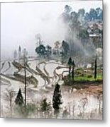 Mist And Village Metal Print