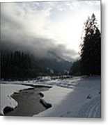 Mist Over A Snowy Valley Metal Print