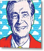 Mister Rogers Pop Art Metal Print