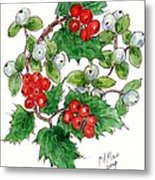 Mistletoe And Holly Wreath Metal Print