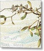 Mistletoe In The Snow Metal Print by English School