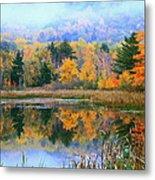 Misty Autumn Pond  Metal Print